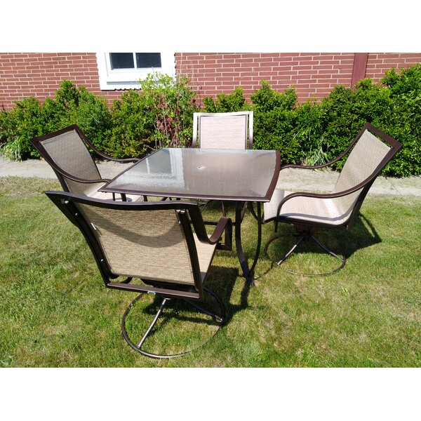 Savannah Steel Swivel Rocker 5 Piece Dining Set by Huayue Alu,\m. Manu. Co. Ltd.