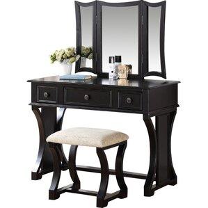 black bedroom vanity. Eveline Vanity Set with Mirror Bedroom  Makeup Vanities Joss Main