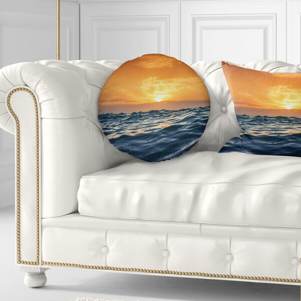 Beach Waves Dancing at Sunset Throw Pillow by East Urban Home