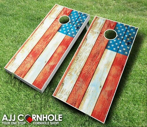 10 Piece American Flag Distressed Cornhole Set by AJJ Cornhole