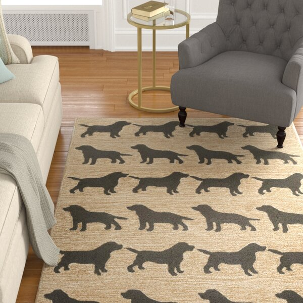 Allgood Doggies Natural Indoor/Outdoor Area Rug by Charlton Home