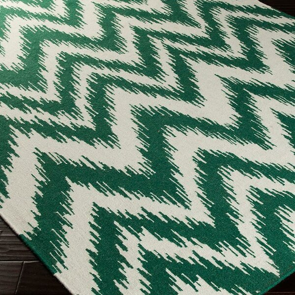 Marion Juniper & Winter White Zig Zag Area Rug by Zipcode Design