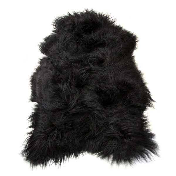 Barnabas Long-Haired Hand-Woven Sheepskin Black Brown Area Rug by House of Hampton