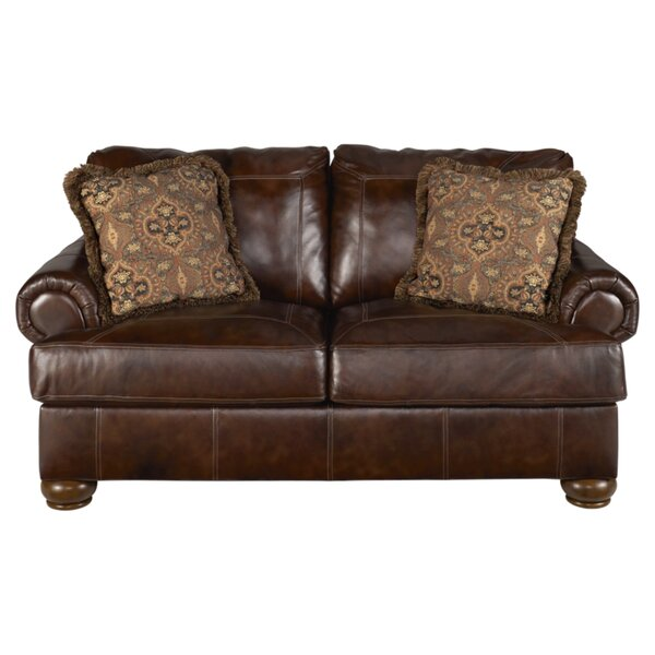Review Nielsville Genuine Leather 75'' Rolled Arm Loveseat