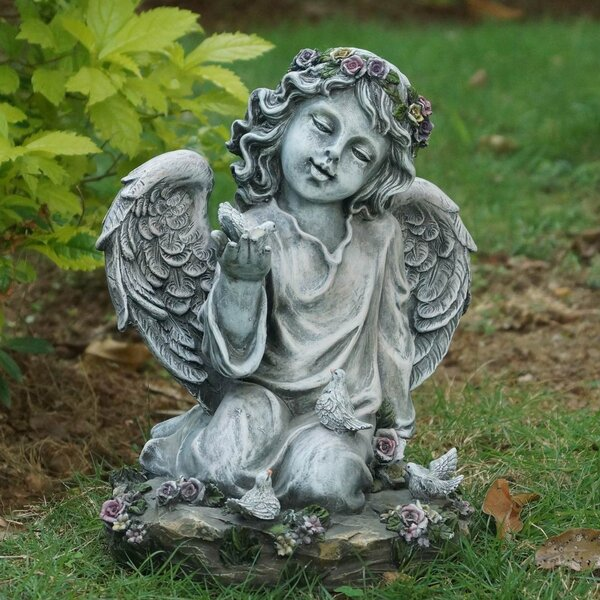 Angel Girl Kneeling with Four Birds Statue by Hi-Line Gift Ltd.