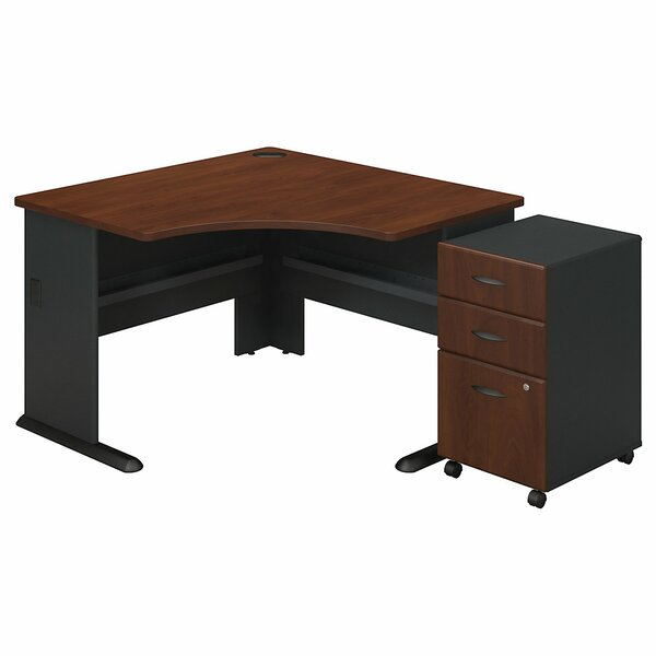 Series A L-Shape Executive Desk with 3 Drawer Mobile Pedestal by Bush Business Furniture