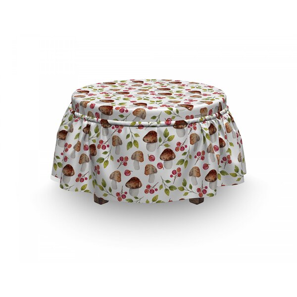 Mushroom Forest Elements Fungus 2 Piece Box Cushion Ottoman Slipcover Set By East Urban Home