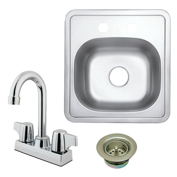 15 L x 16 W Undermount Bar Sink with Faucet and Strainer by Kingston Brass
