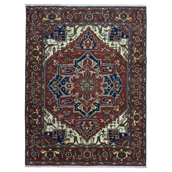 One-of-a-Kind Vancheri Serapi Oriental Hand-Woven Wool Red/Navy Area Rug by Astoria Grand