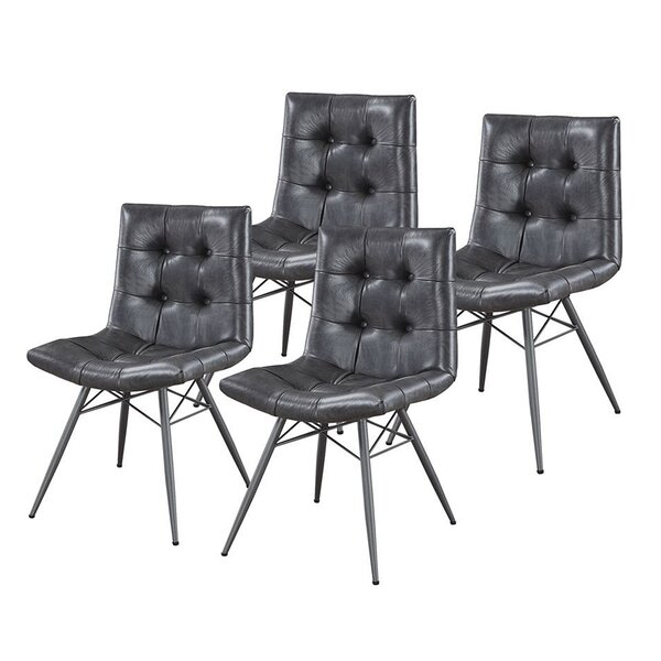 Free S&H Shefford Tufted Leather Upholstered Parsons Chair In Black (Set Of 4)