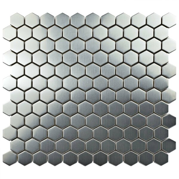 Metallic 1 x 1 Stainless Steel Over Ceramic Mosaic Tile in Silver by EliteTile