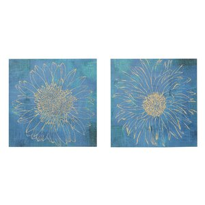'Iridescent Bloom' 2 Piece Graphic Art Print Set on Canvas by Winston Porter