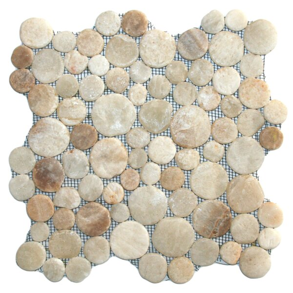 Rhine Random Sized Natural Stone Mosaic Tile in Glazed Mixed Quartz by CNK Tile