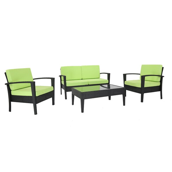 Nye 4 Piece Rattan Sofa Seating Group with Cushions by Ebern Designs