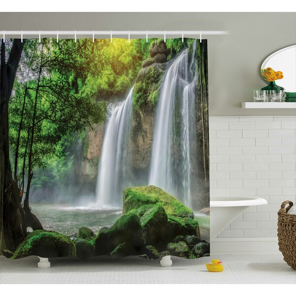Cascade Stream Decor Shower Curtain by East Urban Home