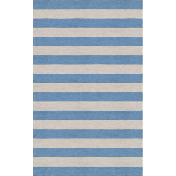 Croker Stripe Hand-Tufted Wool Silver/Aqua Area Rug by Harriet Bee