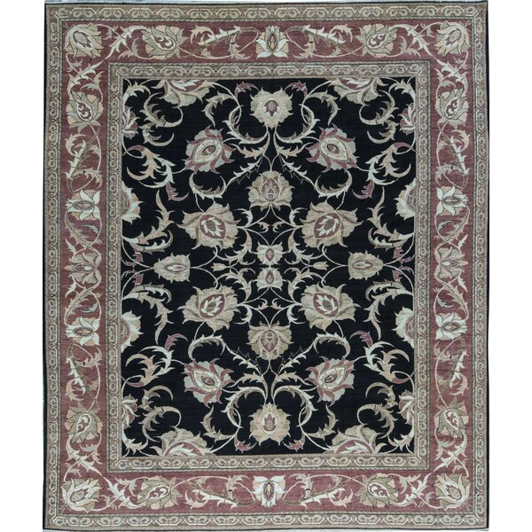 Hand Knotted Wool Black/Red Rug