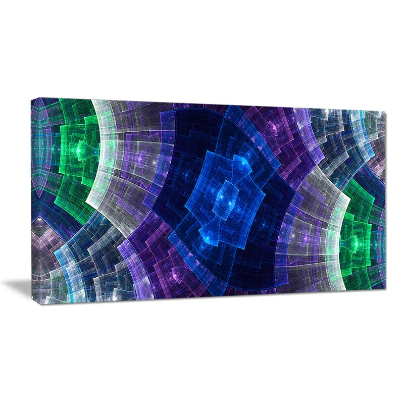 Designart Bright Blue And Green Flower Grid Graphic Art On Wrapped Canvas Wayfair