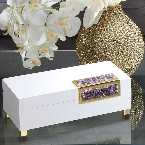 White Wood and Glass Decorative Box by Everly Quinn