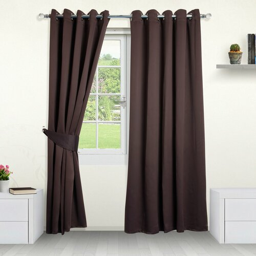 Eyelet Blackout Thermal Curtains Symple Stuff Colour: Chocol