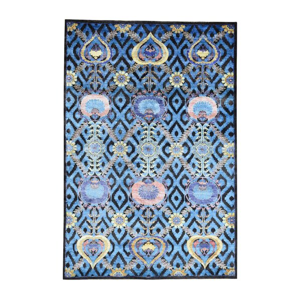 One-of-a-Kind Peden Arts and Crafts Carpet Hand-Knotted Silk Blue Area Rug by World Menagerie