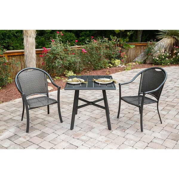 Bearden 3-Piece Commercial-Grade Patio Set with 2 Woven Dining Chairs and a 30-In. Aluminum Slat-Top Bistro Table by Charlton Home