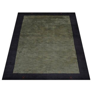 Great choice Gretchen Hand-Knotted Wool Green/Black Area Rug ByWorld Menagerie