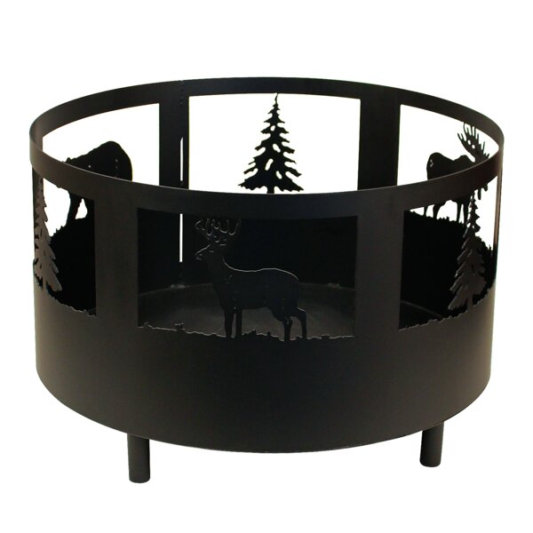 Wildlife Scene Metal Wood Burning Fire Pit by Coast Lamp Mfg.