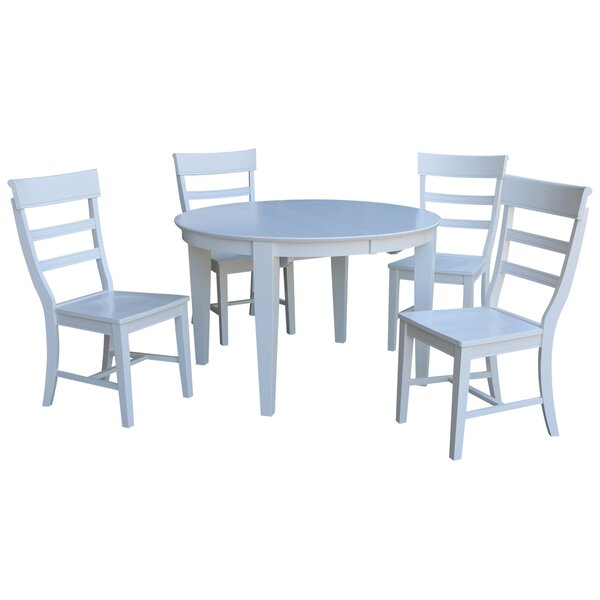 Liev 5 Piece Extendable Solid Wood Dining Set by August Grove