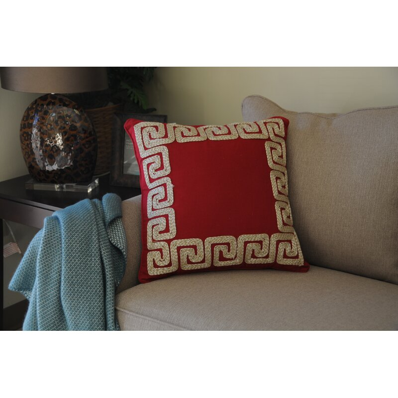 Nuzzo Greek Key Border Cotton Throw Pillow