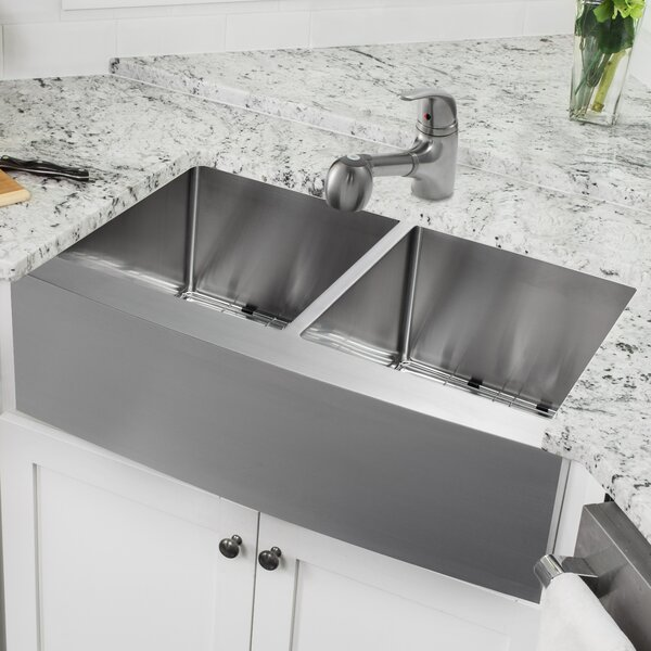 33 L x 21 W Double Basin Apron Kitchen Sink with Faucet and Soap Dispenser by Cahaba
