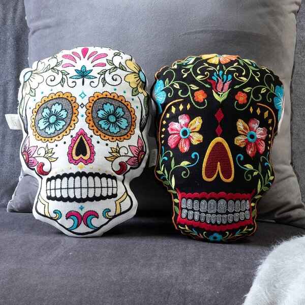 Sugar Skulls Throw Pillow by The Holiday Aisle