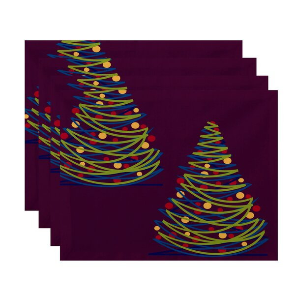 Christmass Tree Geometric Print Placemat (Set of 4) by The Holiday Aisle