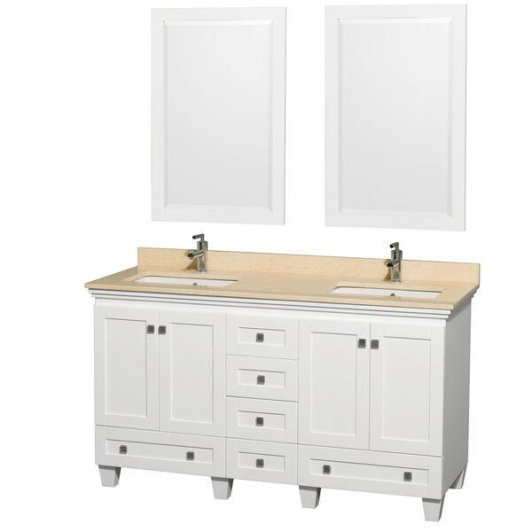 Acclaim 60 Double White Bathroom Vanity Set with Mirror by Wyndham Collection
