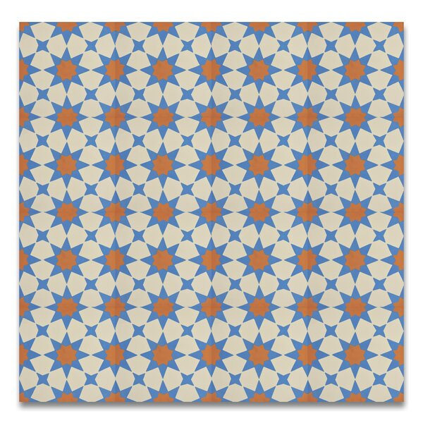 Medina 8 x 8  Handmade Cement  Tile in Multi-color by Moroccan Mosaic