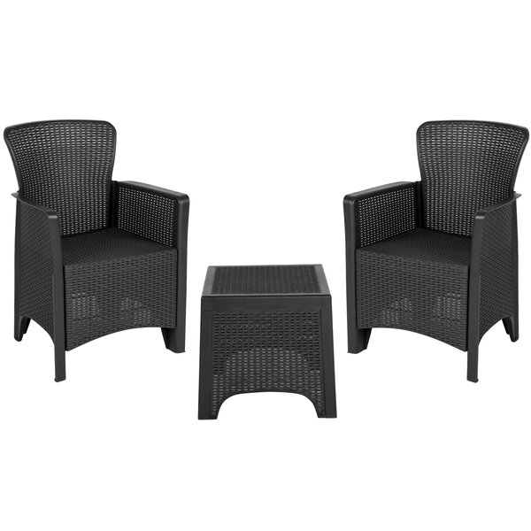 Khoury 3 Piece Rattan 2 Person Seating Group by Breakwater Bay
