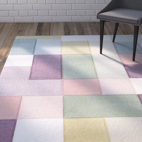 Mott Street Modern Geometric Carved Pink/Teal Area Rug by Wrought Studio