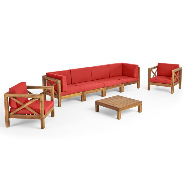 Mallie 7 Piece Teak Sofa Seating Group with Cushions by Foundry Select Foundry Select