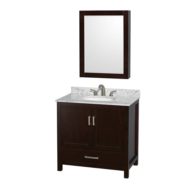 Sheffield 36 Single Espresso Bathroom Vanity Set with Medicine Cabinet by Wyndham Collection