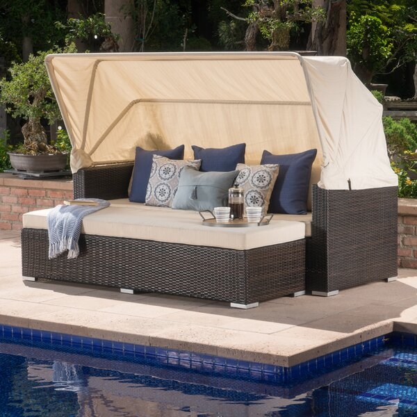 Lammers Outdoor Wicker Daybed with Cushions by Brayden Studio