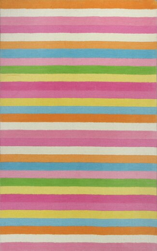 Shari Chic Pink Stripes Area Rug by Viv + Rae