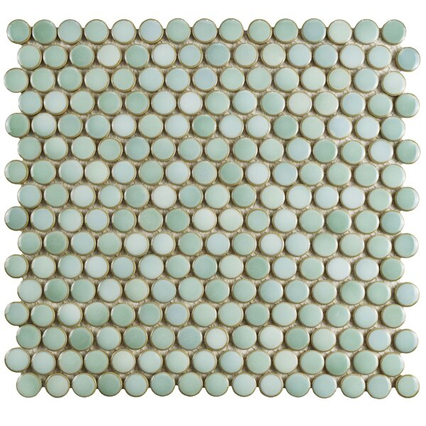 Penny 12 X 12.625 Porcelain Mosaic Tile in Mint Green by EliteTile