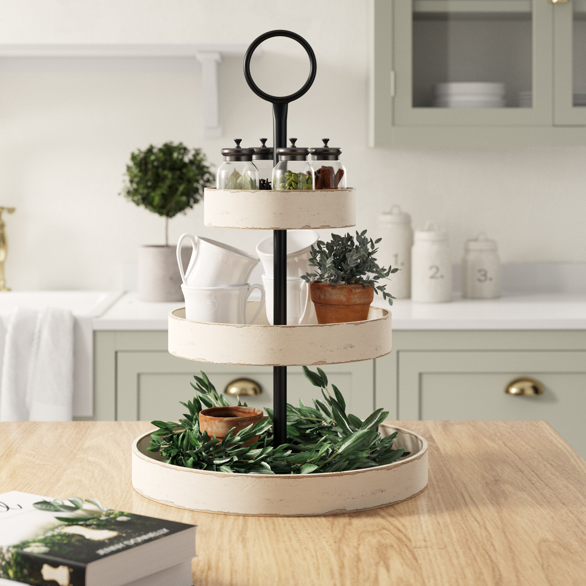 Laurel Woodmont 3 Tiered Wood Tray