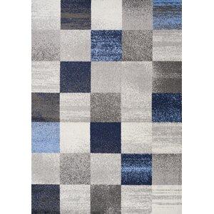 Benn Patchwork Gray/Blue Area Rug