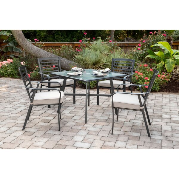 Leeson 5-Piece Commercial-Grade Patio Set with 4 Cushioned Dining Chairs and a 38 Square Glass-Top Table