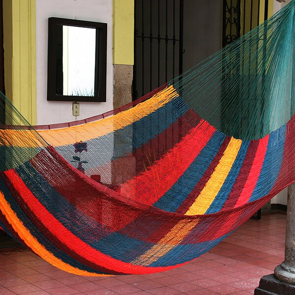 Double Person Striped Red Wine Sunset Hand-Woven Mayan Artists of the Yucatan Nylon With Accessories Included Indoor And Outdoor Hammock by Novica