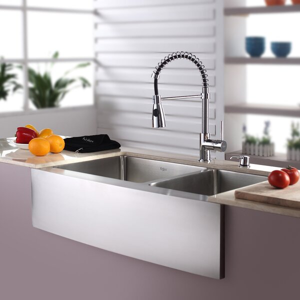Kitchen Combos 33 L x 21 W Double Basin Farmhouse/Apron Kitchen Sink with Faucet by Kraus