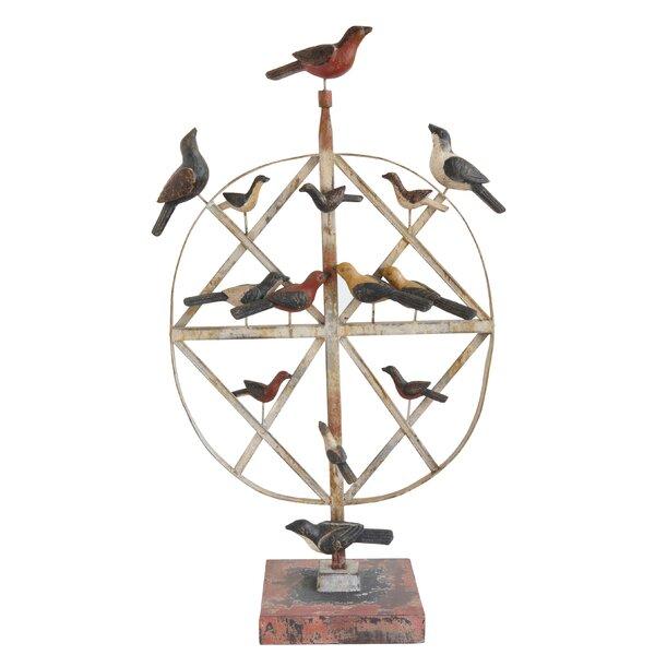 Hiebert Metal Standing Ornament with Birds Sculpture by August Grove