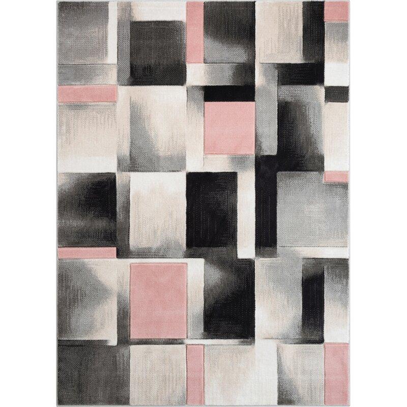 Well Woven Good Vibes Louisa Modern Geometric Boxes Blush Pink