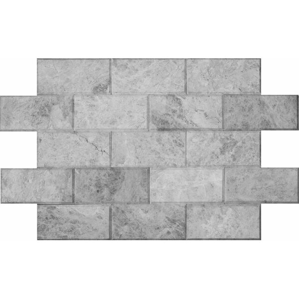 3 x 6 Marble Mosaic Tile in Silver Shadow by Ephesus Stones